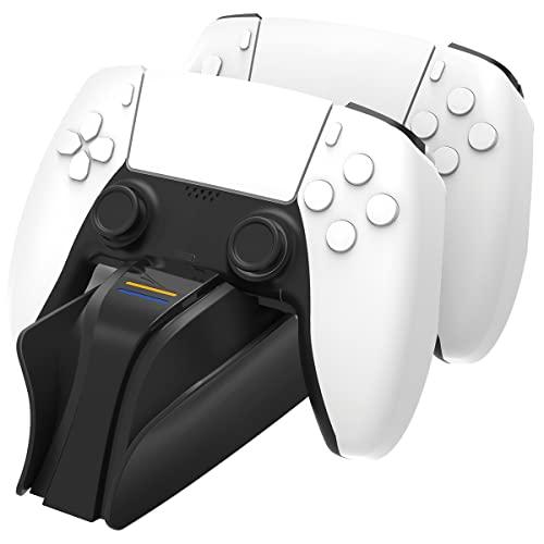 snakebyte PS5 TWIN CHARGE 5 - blanco - Estación de carga PlayStation 5 para el mando DualSense, cargador para 2 mandos inalámbricos incluyendo cable tipo C, pantalla LED de estado de carga, diseño PS5