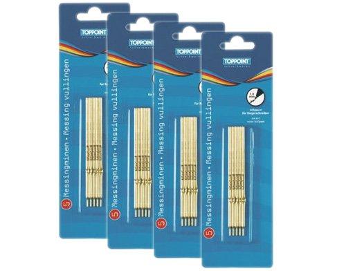Sparpaket: Stylex 4 x 5 Kugelschreiberminen, schwarz, TOPPOINT Messingminen 30560