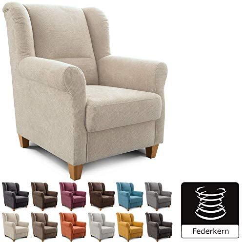 Cavadore Sessel Finja mit Federkern / Ohrensessel im Landhausstil / passender Hocker separat erhältlich / 87 x 102 x 96 / Webstoff Creme
