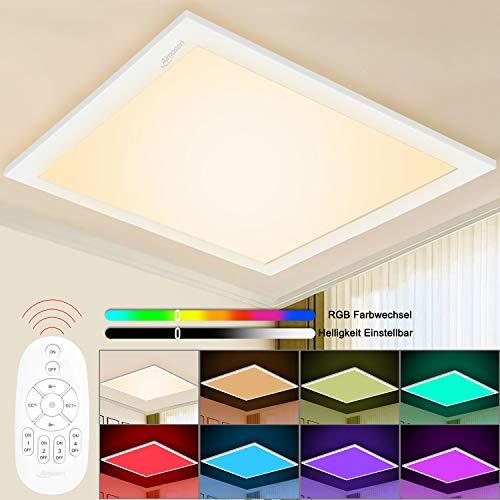 Aimosen RGB Dimmbar LED Deckenleuchte Panel 30x30cm, Quadrat Unterputz Deckenlampe mit 8 Farbwechsel und 3000K WarmWeiß, Lampenpanel für Büro Kinderzimmer Schlafzimmer Innendekoration Beleuchtung