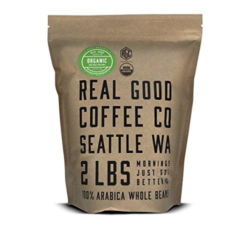 Real Good Coffee Co Whole Bean Coffee, USDA Organic Dark Roast Coffee Beans, 2 Pound Bag