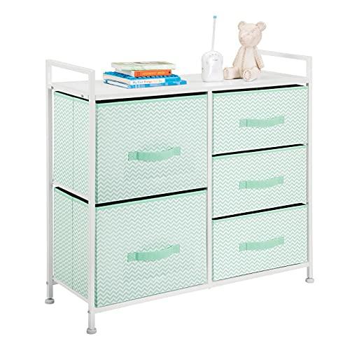 mDesign Wide Dresser Storage Tower Furniture - Metal Frame, Wood Top, Easy Pull Fabric Bins - Organizer for Kid's Bedroom, Hallway, Entryway, Closet, Dorm - Chevron Print, 5 Drawers - Mint Green/White