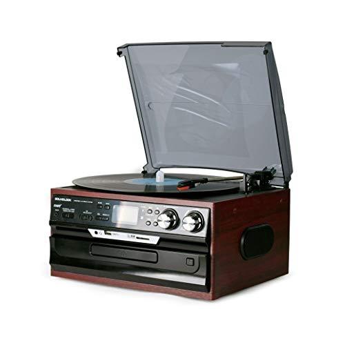 JIE KE Caja de música Bluetooth Record Player Turntable con CD, Cassette, Radio y Reproductor de música de Audio USB/SD Amplificador Incorporado para Regalos para Regalos y cafetería. (Color : Brown)