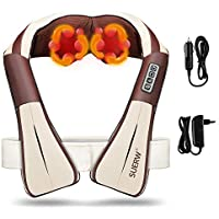 Masajeador de Espalda, SUERW Masajeador Electrico Shiatsu con Calor de Cervical Cuello Hombros con Diseño Manos Libres/4D Rotación/3 Velocidades (Usar en Casa/Oficina/Coche)