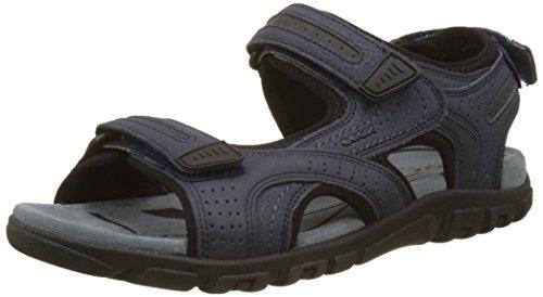 Geox Uomo Sandal Strada D, Sandalia con Pulsera para Hombre, Azul (Navy/Dk Grey), 43 EU