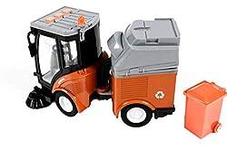 Gear Box Spielzeug Kehrmaschine mit Anhänger, Spielzeugauto Friktionsantrieb, Licht- und Tonfunktion, mit Mülltonne, Länge ca. 20 cm