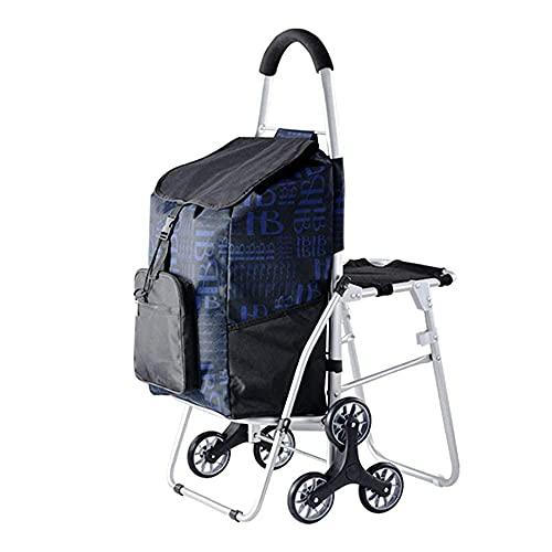 Guomipai Carrito de la compra para el asiento de anciano,Carrito de escalada portátil multifunción con 6 ruedas,Carro de pesca plegable resistente