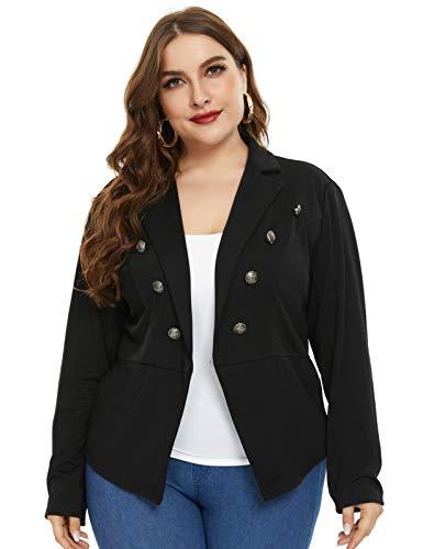 Womens Casual Blazers Open Front Long Sleeve Work Office Jackets Blazer (Dark Purple-Size M)
