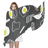 QMIN - Bufanda de seda para desayuno, café, huevo, patrón de alimentos a la moda, larga, ligera, chal organizado, bufandas, silenciador para mujeres y niñas