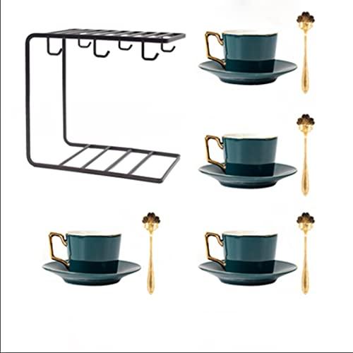 MQH Las Tazas de té de Porcelana Set Tazas de café Verde con platillos de la Cuchara de la Taza de Estilo Europeo con Estante para Capuchino Postre Latte (Color : Black, tamaño : 4 pcs)