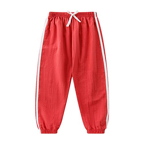 "Baby Long Bloomers Slub Cotton Casual Pants Trousers for Boys Girls 18M-8T (7-8Y(Height 61""), Red)"