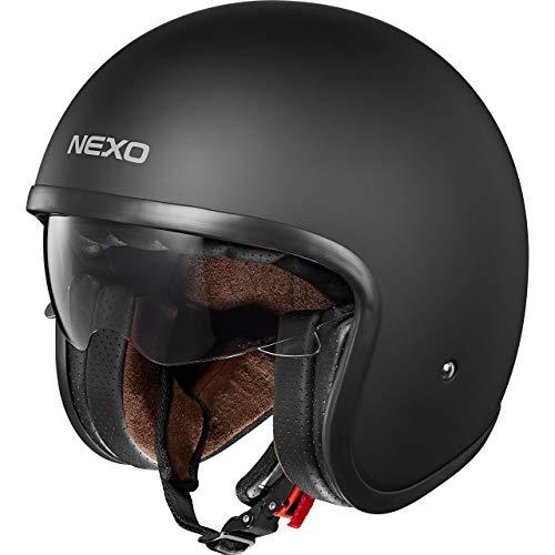 Nexo Jethelm Motorradhelm Helm Motorrad Mopedhelm Urban Style, Sonnenblende, Ratschenverschluss, herausnehm-, waschbare Wangenpolster, Gewicht: 1.050 g (+/- 50 g), Prüfung: ECE 22/05, matt schwarz, L