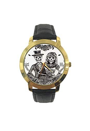 Gruselige Valentinstagsuhr mit Skizze und Zeichnung für den Heiratstag der Toten Figuren Fashion Herren Armbanduhr Quarz Lederband Freizeit Uhr