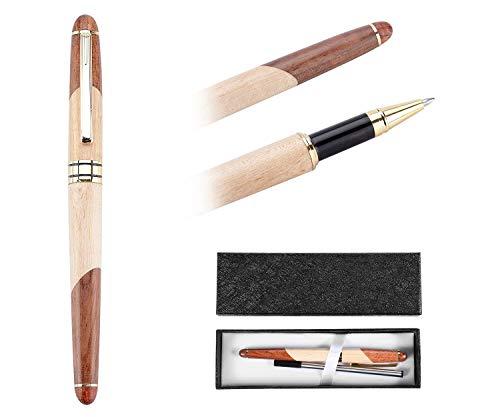 OMZGXGOD - Penna a sfera regalo - Penna a sfera in legno di sequoia, set di penne regalo elegante ed elegante(Scatola di carta squisita)