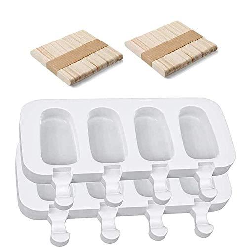 2 Packungen Eisformen Silikon, Silikon EIS am Stiel Formen Set BPA Free,Ice Cream Lollies Makers mit 100 Sticks, DIY Frozen Dessert Eisformen für Kinder Erwachsene