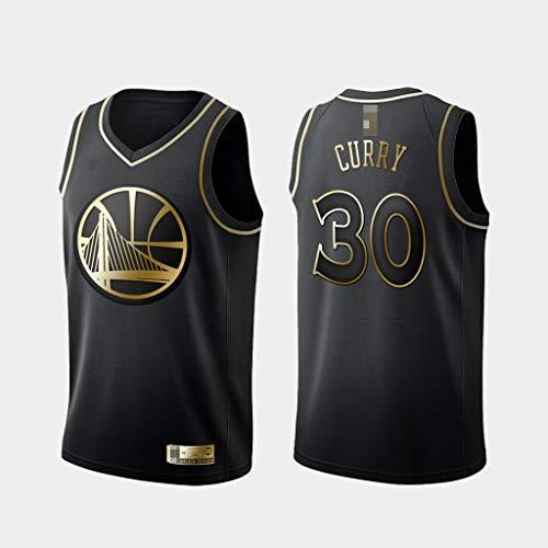 LYY Jerseys De Hombre, Golden State Warriors # 30 Stephen Curry - NBA Classic Baloncesto Sportswear Flojo Comfort Chalecos Tops Sin Mangas Camisetas Uniformes,Negro,L(175~180CM)