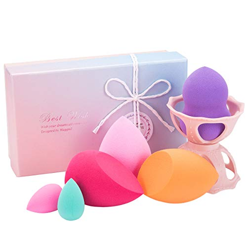 FITDON Makeup Sponge Blender Set, 6 PCS Latex-free Beauty Foundation Blending Sponges Applicator, Flawless for Liquid Cream and Powder, Multi Color and Shape with Blender Holder