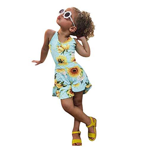 Xniral Baby Mädchen Hosenträger Ärmellos Sonnenblume Drucken Jumpsuits Body Einteiler Sommer Prinzessin Strampler(Blau,5-6 Jahre)
