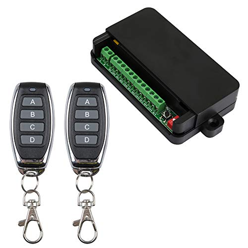 Telecomando 220 V, 4 canali, relè senza fili, 433 MHz, telecomando 2 trasmettitori con 1 ricevitore, utilizzo per diversi comandi senza fili, casa e molto altro