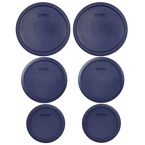 Pyrex (2) 7403-PC 10 tazas (2) 7402-PC 6/7 tazas (2) 7201-PC 4 tazas azul redondo tapas de almacenamiento de alimentos de repuesto