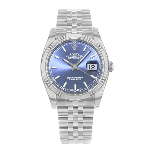 Rolex Oyster Perpetual Datejust 36mm Stainless Steel Case, 18K White Gold Fluted Bezel, Blue Dial, Stick Hour Markers, and Jubilee Bracelet.