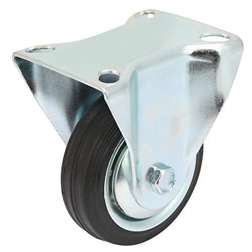 LANTRO JS - 4 Stück 3 Zoll Hochleistungs-Eisenkern Silent Rubber Fixed Castor Wheels für Trolley Furniture Caster