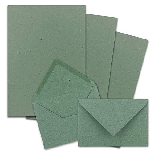 FarbenFroh by Gustav Neuser - Juego de 25 papeles de carta DIN A4 con sobres C6, pegado en húmedo, papel kraft verde...