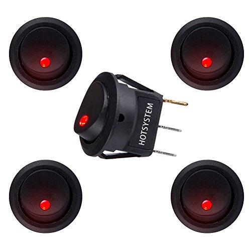 HOTSYSTEM 12V 20A Auto KFZ Runder Schalter Wippschalter Ein-Ausschalter mit roter LED Anzeige Wechsel Switch Kippenschalter