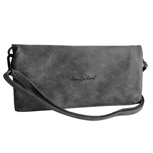 Umhängetasche Foldable von Jennifer Jones - 2 Style DamenHandtasche, Damentasche, Schultertasche, Abendtasche mit Magnetverschlüssen (Dunkel Grau) - präsentiert von ZMOKA®