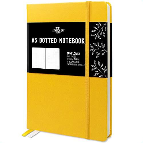 Stationery Island Cuaderno Punteado A5 – Girasol. Bullet Journal de Tapa Dura Con 180 Páginas y Papel Premium de 120gsm. Para Notas, Planificación, Estudio, Viajes, Diario y Proyectos