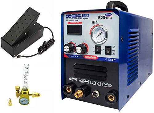 PLASMARGON 200A TIG MMA Welder 50A Plasma Cutter with Foot Pedal and Pressure gauge, 3-in-1 Combo TIG Arc Stick Plasma Cutting Machine110/220V Dual Voltage