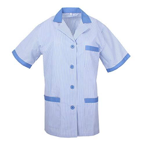 MISEMIYA - Casaca Mujer Cuello Solapa Raya Uniforme ESTÉTICA Médico Enfermera Dentista Limpieza Veterinaria SANIDAD HOSTERERÍA Ref:T820 - L, Celeste
