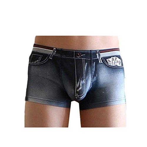 Amlaiworld Herren Baumwolle Spandex Jeans Boxer Reizwäsche, Schwarz, XL