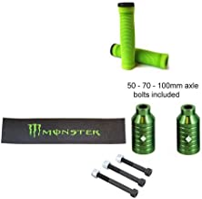 Motion stunt Scooter Green set griptape grips & pegs with 3 deck fork axle bolts
