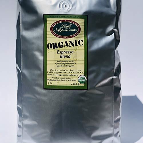 Caffe Appassionato Organic Shade Grown Espresso Roast Whole Bean Coffee, 5-Pound Bags