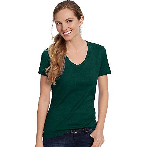 Hanes Women's Nano-T V-Neck T-Shirt, Deep Forest, L