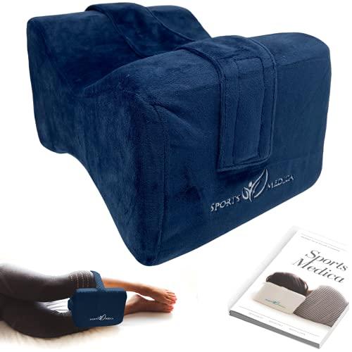 Almohada para las rodillas (azul marino) desarrollada por doctores - Cuña ortopédica viscoelástica para dormir de lado, ciática, dolor de espalda baja - Almohada para piernas - Manual incluido