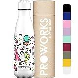 Proworks Edelstahl Trinkflasche | 24 Std. Kalt und 12 Std. Heiß - Vakuum Wasserflasche - Isolierflasche für Sport, Laufen, Fahrrad, Yoga und Camping - 750ml - Weiß Aliens Farbe