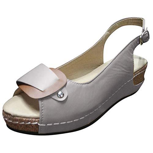 Mengove Femmes Mode Été Bout Ouvert Sandales Décontractées Romaines Femmes Compensées Pompes Boucle De Cheville Bout Ouvert Chaussures De Bouche De Poisson Chaussures