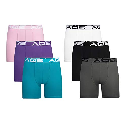 aqs Men's Boxer Briefs - 6 Pack (Pink/Teal/Mauve/Black/Grey/White, Large)