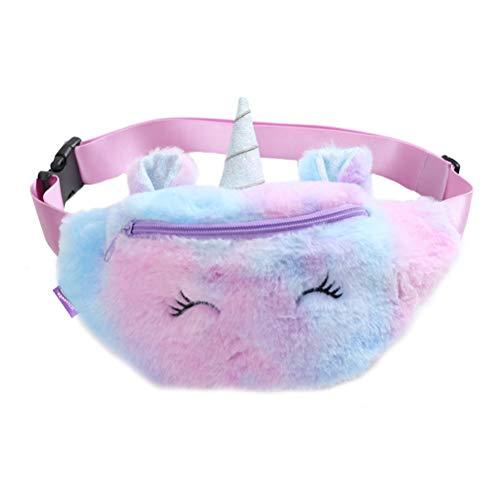 Anewu Bolsa de cinturón de Unicornio, riñonera de Felpa de Unicornio Riñonera para niños Linda Riñonera de Felpa de Dibujos Animados Bolsa de Pecho de Color Degradado para bebés y niñas