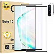 [2+1Pack] Galaxy Note 10 Screen Protector and Camera Lens Screen Protector Compatible Fingerprint Full Coverage Bubble-Free 9H Scratch-Resistant HD Clear 3D Curved Tempered Glass for Samsung Galaxy Note 10
