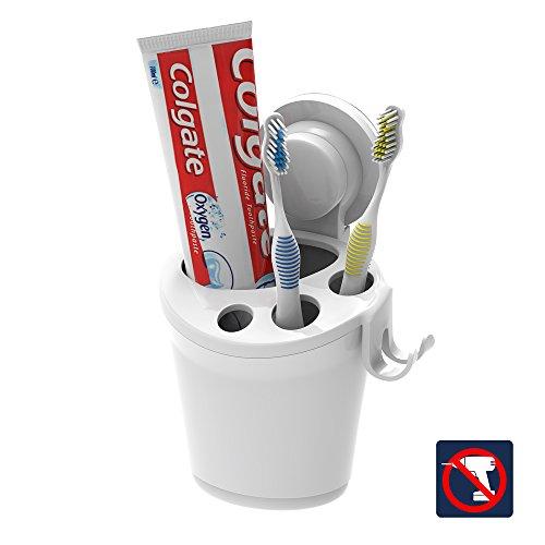Zahnbürstenhalter Saugnapf Wand Weiß, Zahnbürsten und Zahnpasta Halter, Zahnbürstenhalterung Saugnapf, Zahnpastahalter Wand Ohne Bohren Kunststoff mit Rasiererhalter für Bad