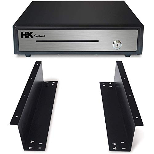 """HK SYSTEMS 16"""" Heavy Duty Black""""Push"""" Open Cash Drawer, 5B5C with Under Counter Mounting Metal Bracket"""