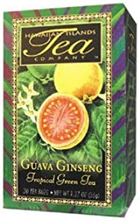 Guava Ginseng Tropical Green Tea, All Natural, 20 Teabags, Blended and Packed in Hawaii