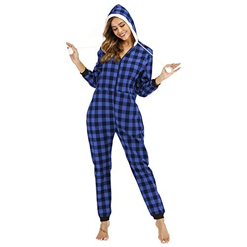 Pijama Algodón de una Pieza Invierno para Mujer Cremallera a Cuadros Pijama Encapuchado Calentito Ropa de Casa Dormir,Azul,XXL