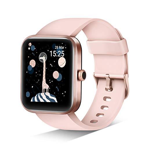JIKKO Smartwatch, ID206 Touchscreen Armbanduhr, 1.69 Zoll Fitness Tracker Sportuhr mit Schrittzähler, Pulsuhr&Blutsauerstoffsättigung, mit Alexa 5ATM wasserdichte Smart Watch für Android iOS (Rosa)