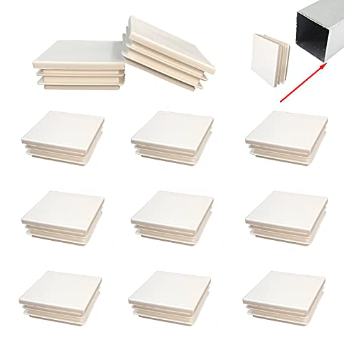Zaky 16 tapones para tuberías, tapones para los pies, de plástico blanco, para tubos cuadrados, de 50 x 50 mm, cuadrados