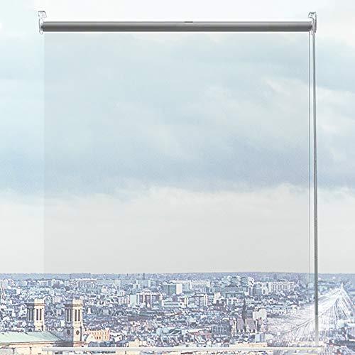 Estor Enrollable 150cm/ 100cm/ 80cm de Ancho Cortina Enrollable Transparente, Persiana Enrollable Impermeable de PVC con Material de Fijación, Ventana de Oficina Sala de Reuniones