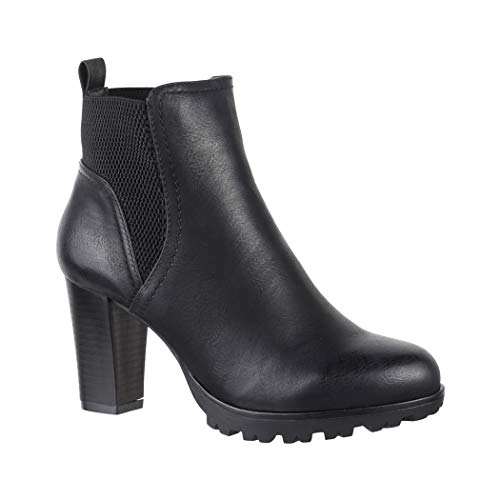 Elara Damen Stiefelette Ankle Boots Chunkyrayan Neu-949-GA Black-36